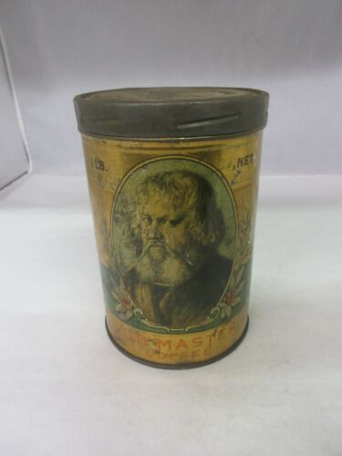 VINTAGE OLD MASTER COFFEE WITH ORIGINAL LID  ADVERTISING COLLECTIBLE   A-253