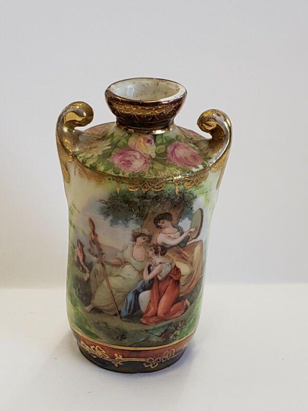 Antique Royal Vienna Porcelain Miniature Vase Hand Painted Gilt Three Muses