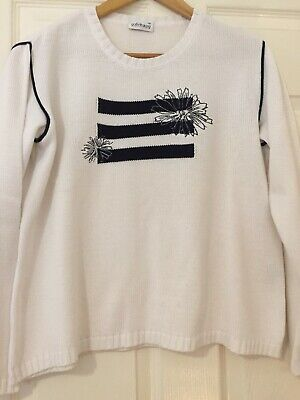gollehaug white navy jumper sweater size 12