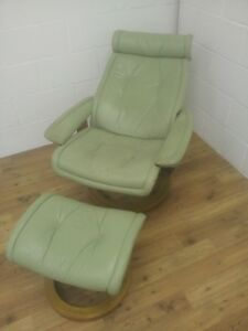 Ekornes Stressless Reclining Chair and Footstool in a Light Green Colour