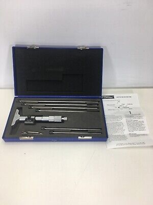 Fowler Digit Reading Depth Micrometer 0 - 6 .001 Complete Set Excellent