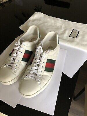 Men's Authentic Gucci Leather Ace Shoes Size 9