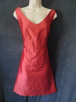 Lula Party (Lula Kate Salmon Coral Pink Raw Silk 60's Retro V Formal Aline Party Dress 12)