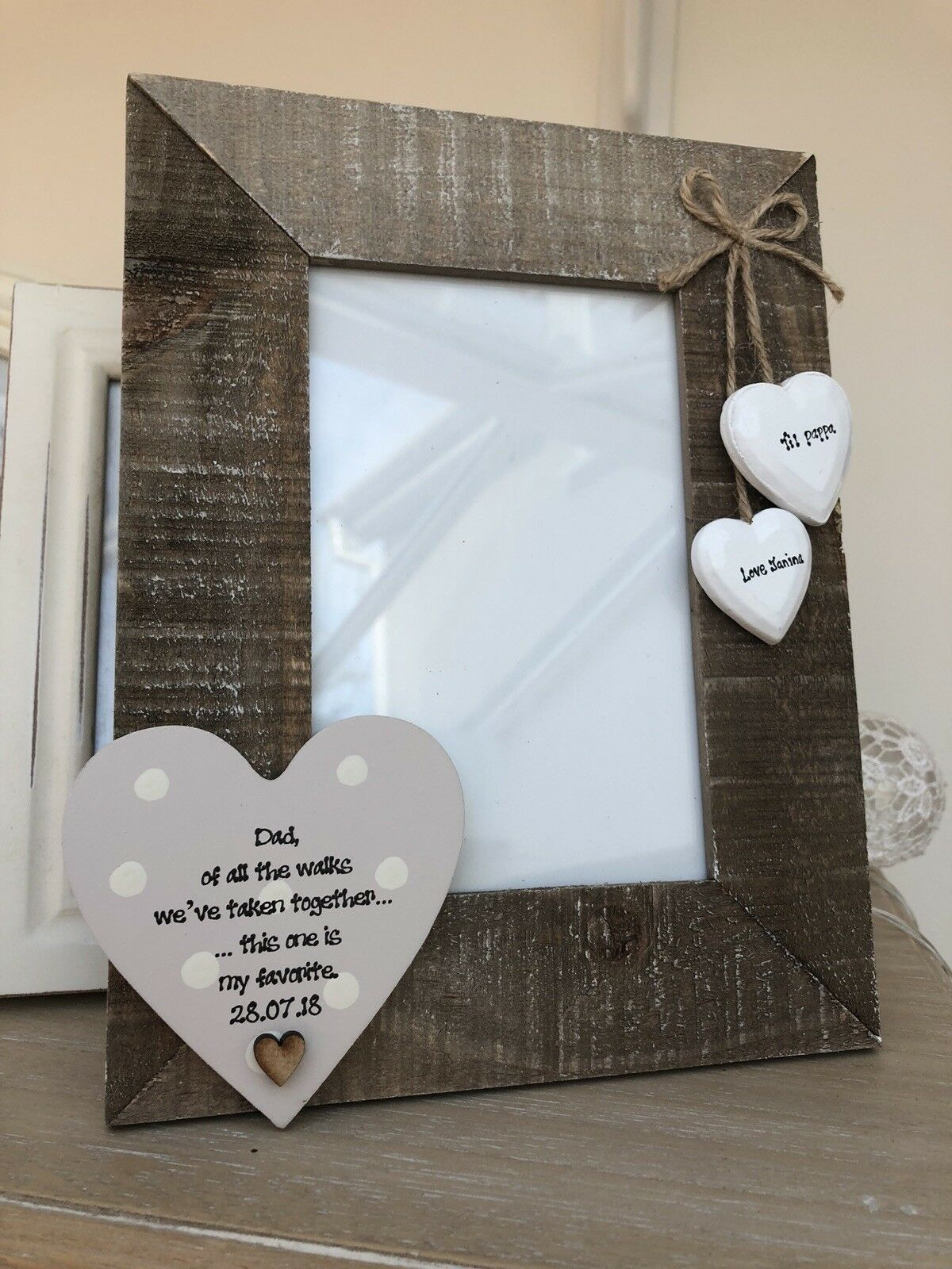 Shabby personalised Chic Photo Frame Father Of The Bride Wedding Day Gift Dad - 233006579149