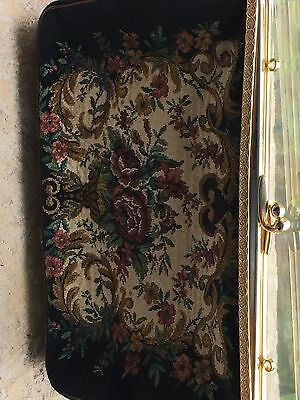 Ladies Tapestry Vintage  Clutch Bag With Floral Embroidery