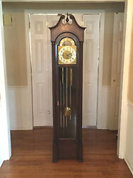 Ant Colonial  Grandfather Clock Winterhalder & Hofmeier Mvmt 5 Tube Chime Strike