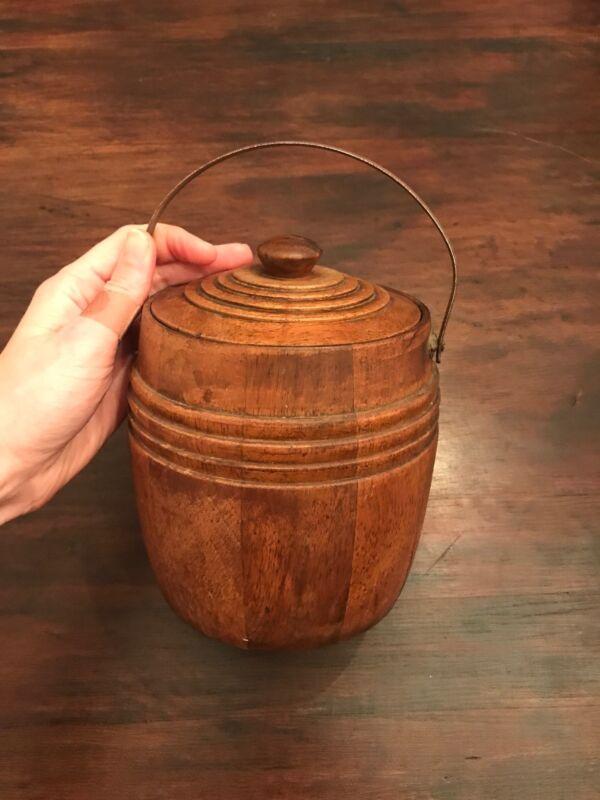 Antique Vintage English Oak Porcelain Biscuit Barrel Ice Bucket