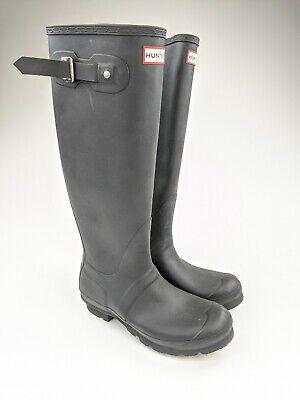 Hunter Black Rubber Women's Original Tall Rain Boots Size
