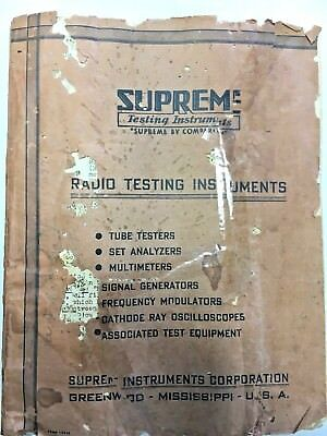 1939 Supreme Instruments Model 85 89 Tube Tester Settings Manual