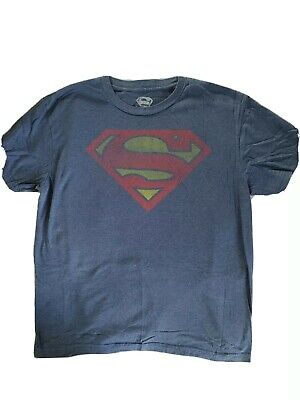SUPERMAN Classic Logo Distressed Blue Large T-shirt L TeeShirt Halloween Costume