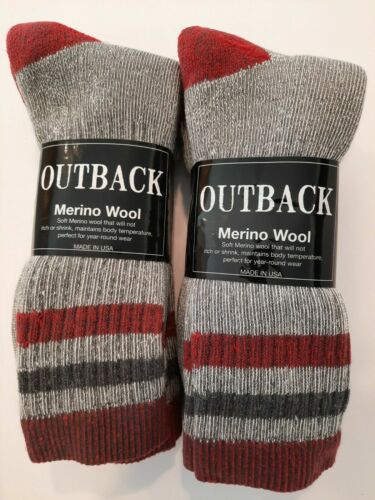 4 Pair Men Premium Soft MERINO Wool Blend Crew Black Socks Large Sock USA Made
