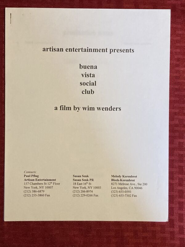 Buena Vista Social Club Production Notes 1999 Wim Wenders Ry Cooder