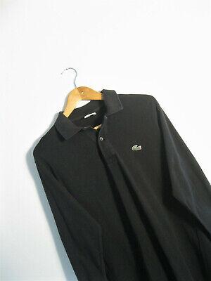 LACOSTE | Men's Retro Black Pique Cotton Polo Shirt Long Sleeve | Size 3 | UK S
