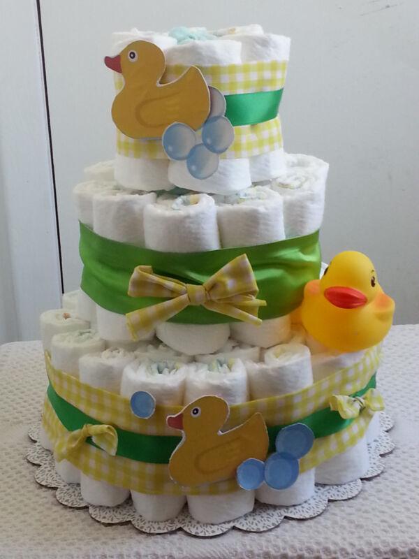 3 Tier Duckie Duck Diaper Cake Baby Shower Centerpiece - Girl Boy
