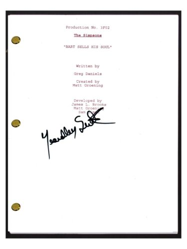 Yeardley Smith Signed THE SIMPSONS Bart Sells His Soul Episode Script Lisa COA