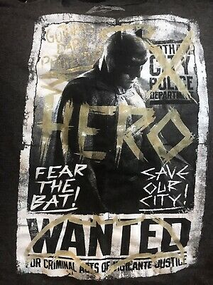 BATMAN V SUPERMAN DARK KNIGHT OF GOTHAM WANTED T-SHIRT-KIDS SIZE LARGE-NEW! DCU