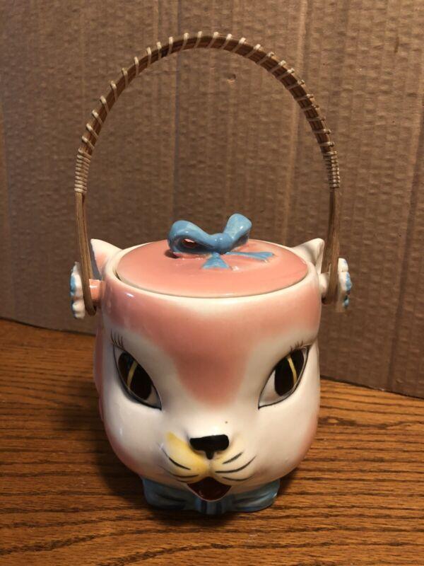 Vintage Tilso Blue Cat Cookie Jar Relco 9A253