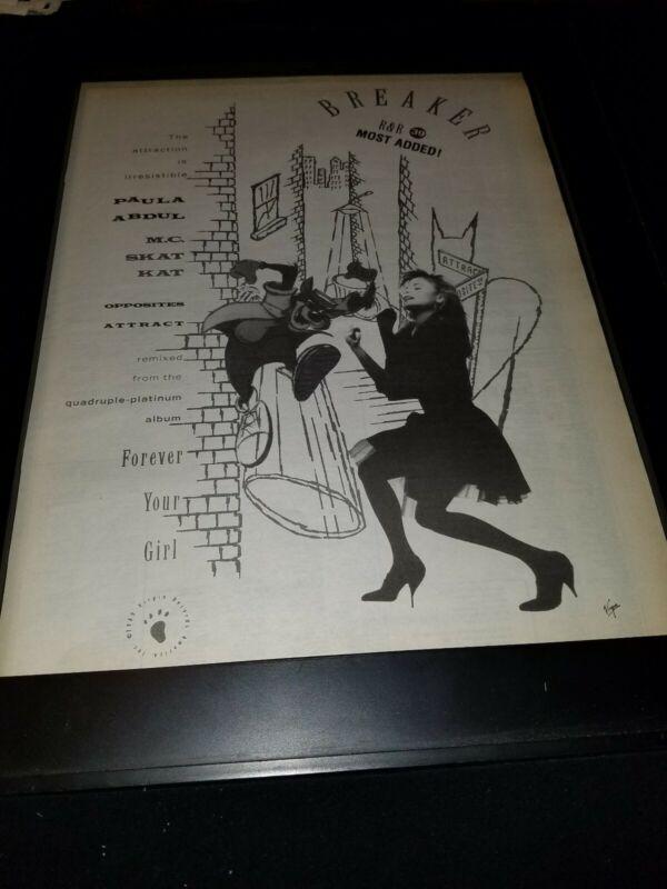 Paula Abdul Opposites Attract Rare Original Radio Promo Poster Ad Framed! #2