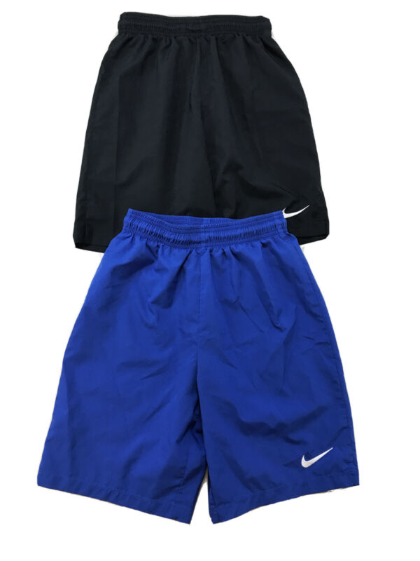 Nike Youth Black/Blue Lot of 2 Dri-Fit Laser Woven Soccer Shorts Sz L