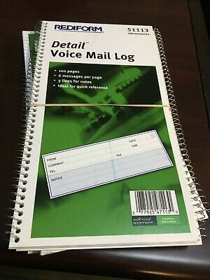 Detail voice mail log book - 100 pages - 600 forms - PACK OF 4 Voicemail Log Book