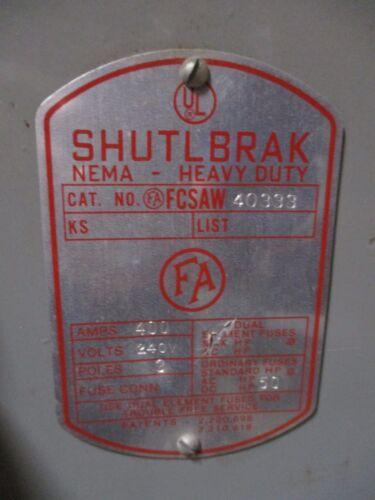 Frank Adam Fcsaw40333 Shutlbrak 400a 3p 240v Fused Switch (no Hardware) Used