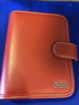 Compact Franklin Covey Day One Red Planner Binder Faux Leather Snap Closure