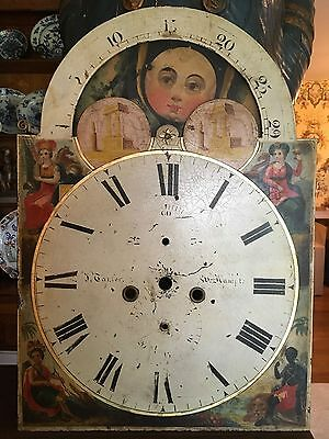 Antique Long Case Tall Case Grandfather Clock Dial Face Painted