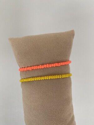 BRACELET Set Of 2 Beads Elastic Selfmade All Sizes Orange Yellow