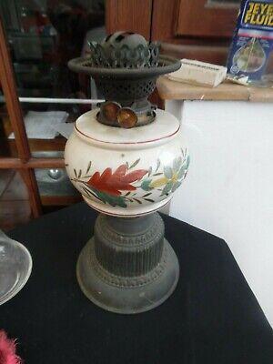ANTIQUE PORCELAIN OIL LAMP AND BURNER - SOLD AS SPARES.,