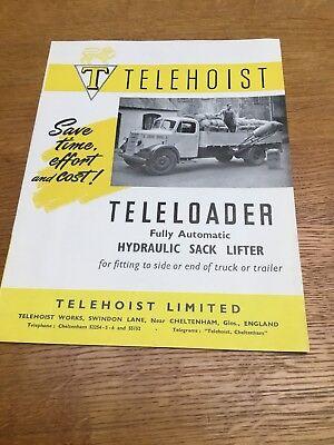 Telehoist Teleloader Original 1950's Sales Brochure - Very Rare Item.