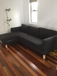 Ikea 3 seater sofa with chaise longue dark grey Suffolk Park Byron Area Preview