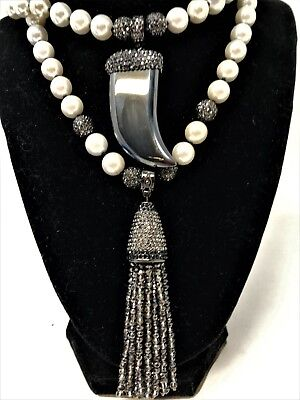 (Joan Boyce Two Tone Treasured Tassel 2-Strand Imperial Pearl Necklace  New!)