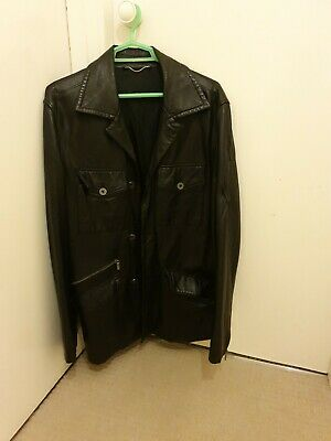 "Versace Classic Mens Leather Jacket in Black. In Good Condition Chest Size 38""52"
