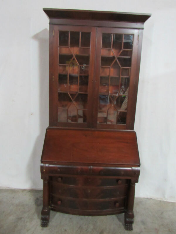 Beautiful Early Empire Flame Mahogany Secretary Bookcase Desk