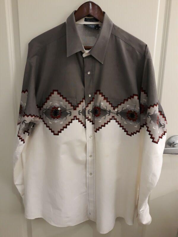 Western Shirt Mens Sz XL Vintage Panhandler Slim Aztec Pearl Snaps BROOKS & DUNN