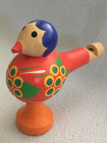 Vintage Folk Art Wooden Bird Whistle hand carved and hand painted
