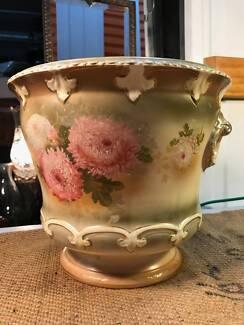 LgAntique Victorian English Chrysanthemum Decorated Jardiniere