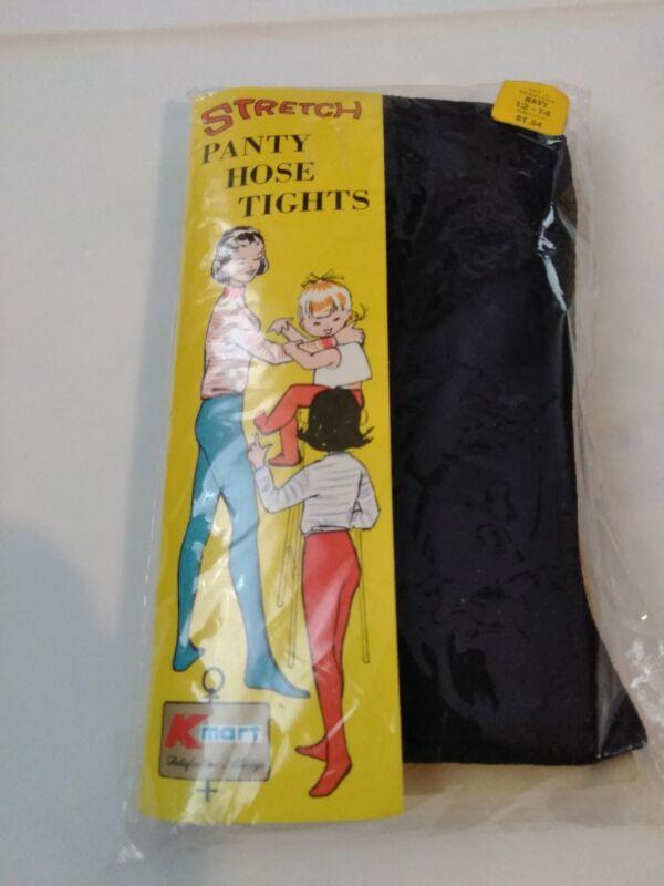 Vintage NOS Kmart KIDS Stretch Tights Panty Hose Girl Size 12 - 14 Navy seamless