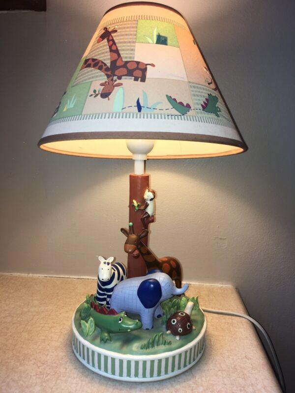 TABLE LAMP Zoo Animals GIRAFFE ELEPHANT ZEBRA TURTLE W/ Shade CHILDRENS NURSURY