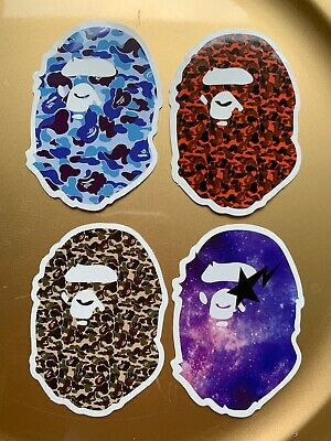 "A Bathing Ape Bape 3"" Vinyl STICKER Lot Skateboard Car Bumper Supreme Camouflage"