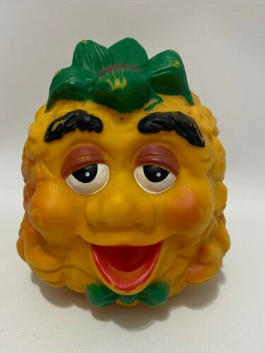 "Vintage Anthropomorphic Pineapple Fruit Face Vinyl 4"" Tall Figure Toy"