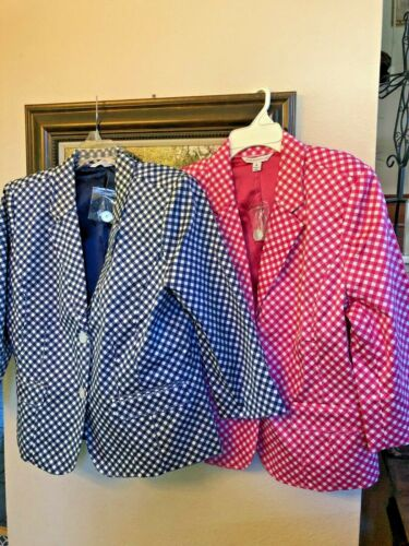 Isaac Mizrahi Live 2 Blazers Jackets New Pink/Navy & White Lined Pockets Size 14