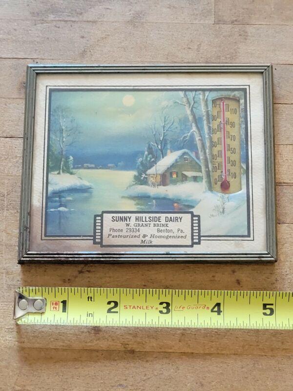 Vintage Sunny hillside dairy advertisement thermometer Brenton PA Pennsylvania