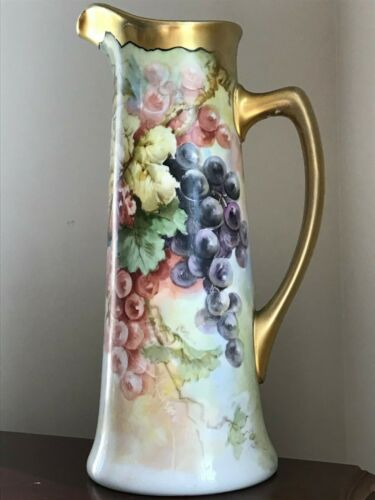 "Hand Painted JPL Limoges Tankard Pitcher~Flowers and Gold Handle No.~Signed 15""h"