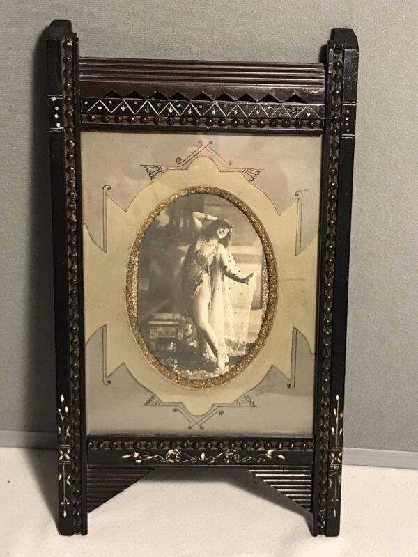 Antique Victorian Eastlake Black Ebony Lacquer Frame w/ Photo of Belly Dancer