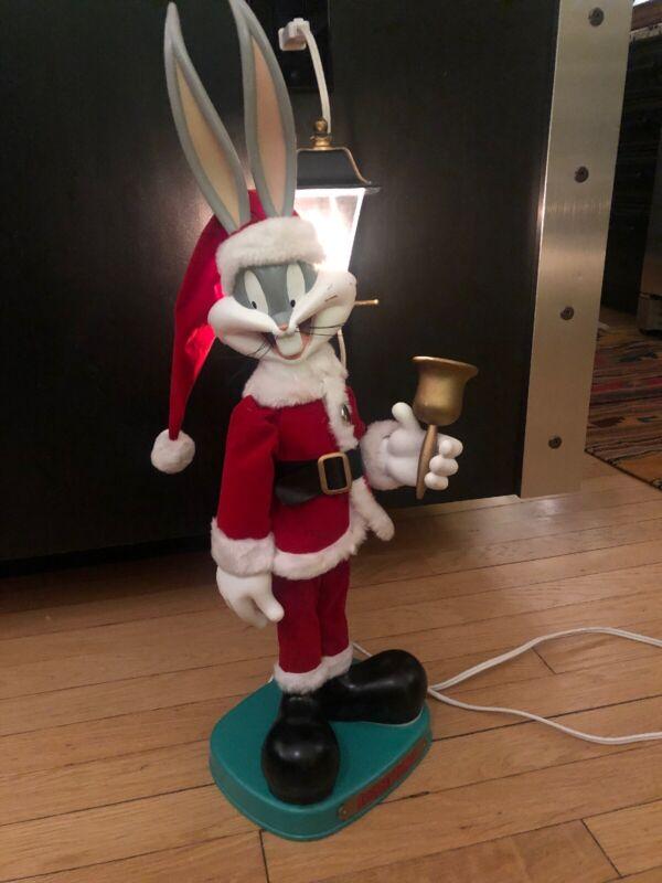 "25"" Looney Tunes Christmas Animated Bugs Bunny Santa Light Up Lamp Post"