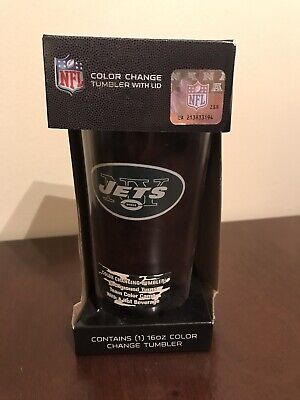 Jets 16oz Color Change Tumbler With Lid Team Color Camo With Hot (16 Ounce Team Color)