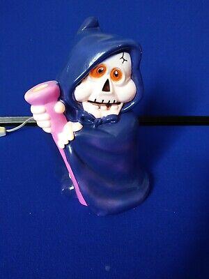 "Vintage Blow Mold Halloween Skeleton Night Light 9"" tall & 5 1/2"" wide Grim"