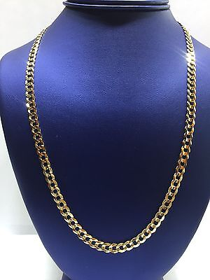 """Solid 10k Yellow Gold Cuban Curb Link 6mm wide 22"""" Chain Mens Necklace"""