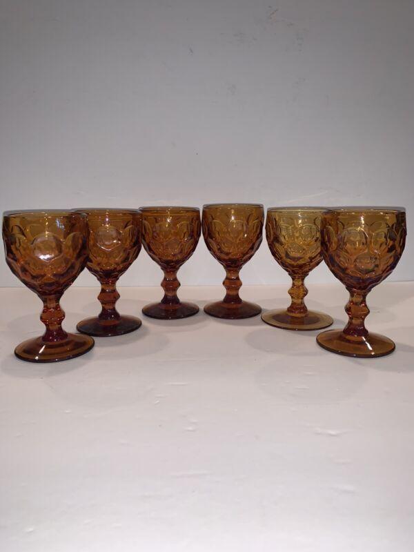 "6 Vintage Imperial Provincial Amber Juice Goblets/ Glasses  4 3/8"" Thumbprint"